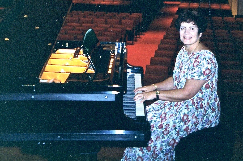 Shona at the Bosendorfer Grand Piano in Victoria Hall, Singapore